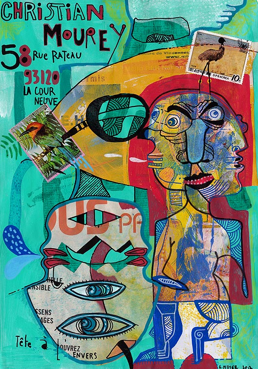 art postal, art timbré, mail art, dessin, peinture, Eric Meyer, Christian Mourey