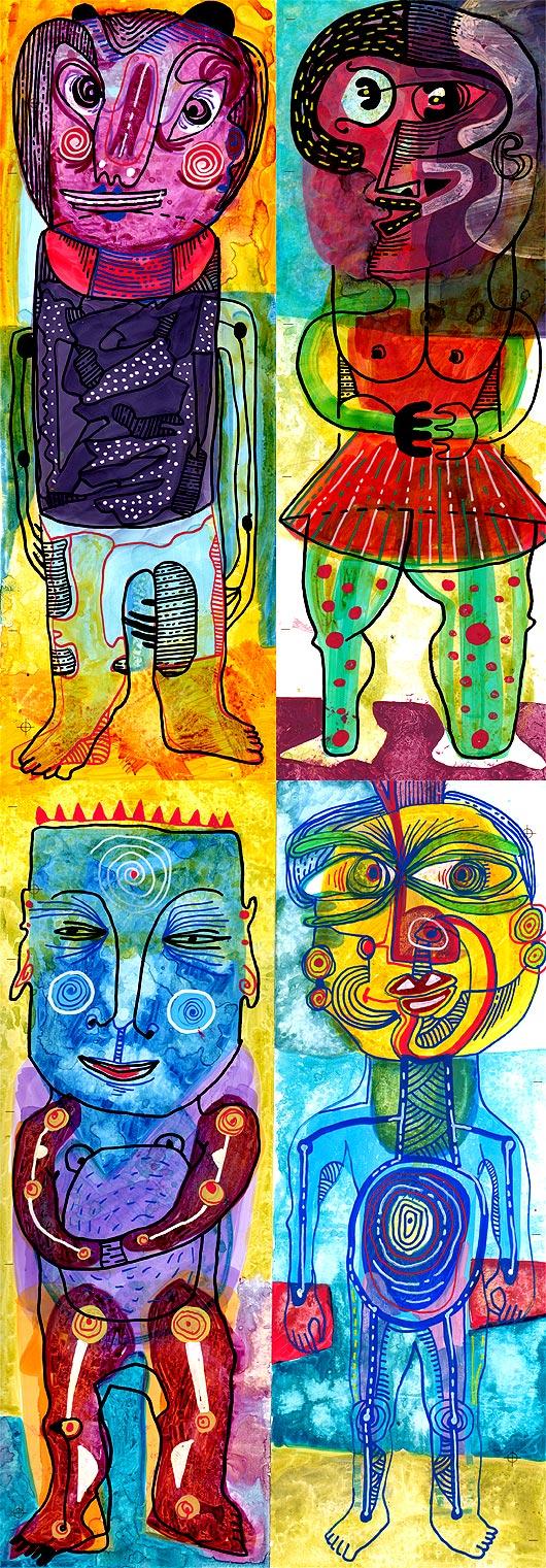 eric meyer, dessin, peinture, personnages, characters, figuration libre, dessin contemporain, personnages, art, peinture, art contemporain, lowbrow