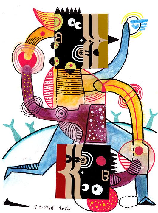 dessin, figuratif, trait, brut, aquarelle, eric meyer, contemporain