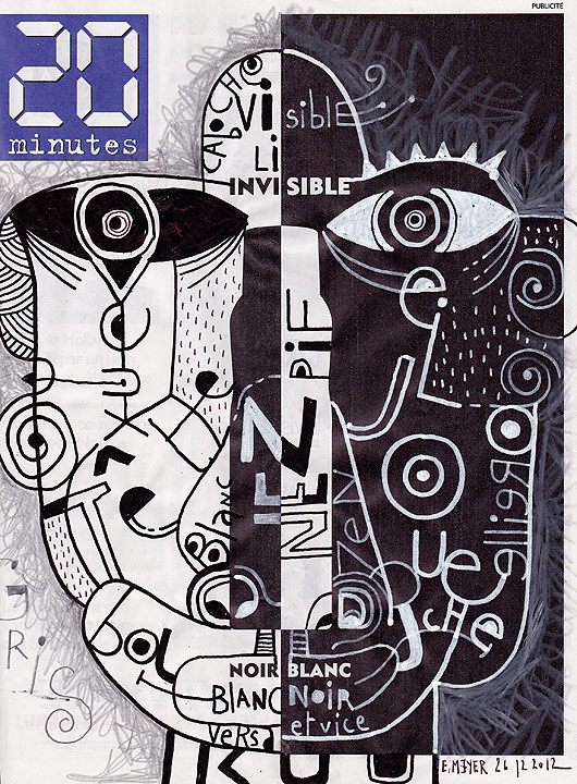 eric meyer, dessin contemporain, kuu, typographie, noir et blanc, 20 minutes, dessin, métamorphose, détournement