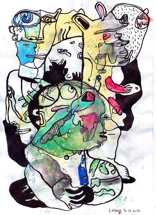 dessin, eric meyer, encre de chine, peinture, contemporain