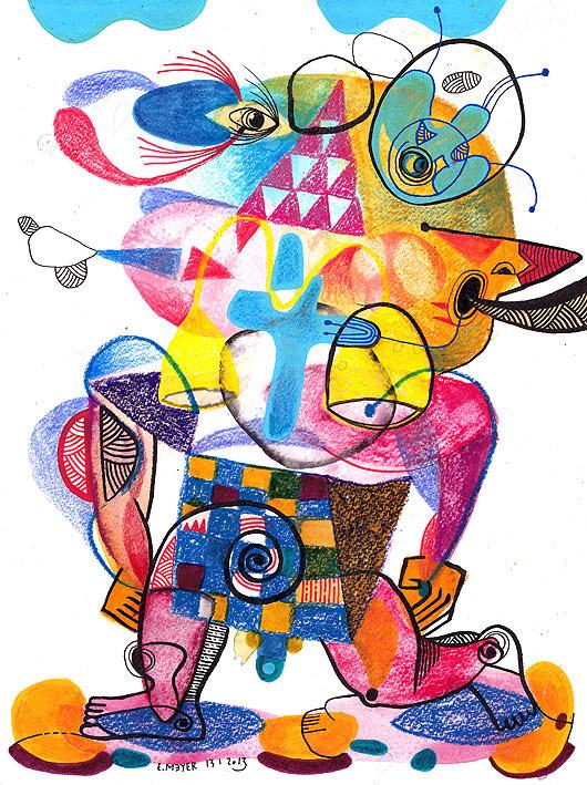 eric meyer, dessin contemporain, craie neocolor, posca