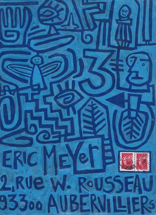 mail art, art postal, figuration colorée, dessin, plume, encre, eric meyer, Christian Mourey