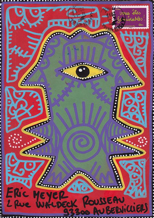 mail art, art postal, figuration colorée, dessin, plume, encre, eric meyer, didier triglia