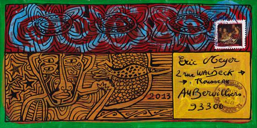mail art, art postal, figuration colorée, dessin, plume, encre, eric meyer, michel julliard