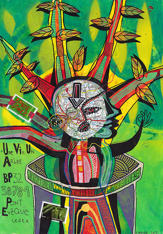 eric meyer, art postal, mail art, une vie un arbre, dessin contemporain