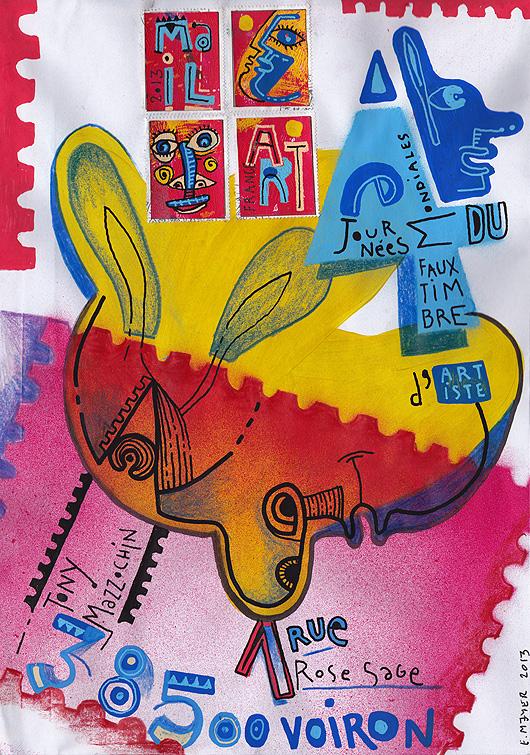 Eric Meyer, Mail Art, Art Postal, 4e journées mondiales du faux timbre d'artite, tony mazzochin, art, peinture, dessin