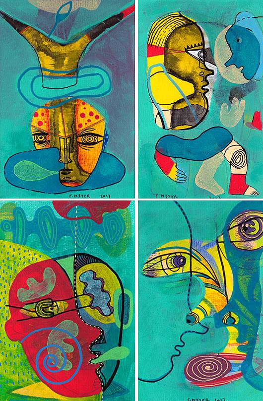 eric meyer, peintre, figuration libre, dessin, poscas, feutres, vert