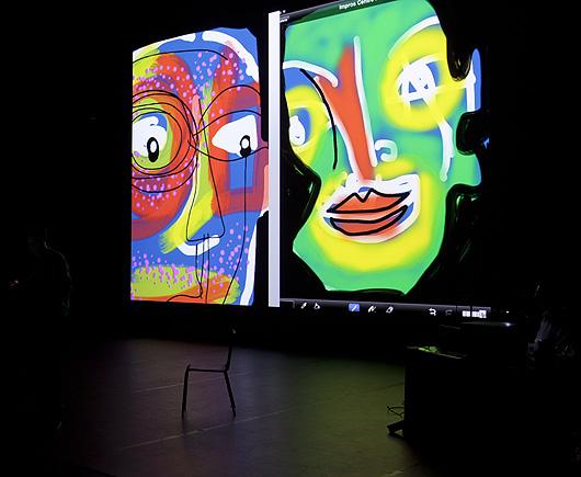 eric meyer, peinture numérique, iPad, peinture digitale, pompidou, beaubourg, secours populaire, seine saint-denis, 93, peintre, performance