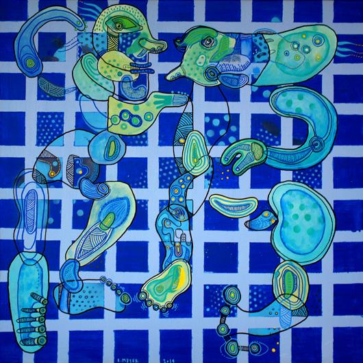 eric meyer, art, peinture, figuration, feutre posca, bleu