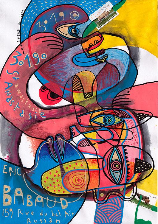 eric meyer, peintre, peinture, art conteporain, art singulier, art postal, mail art, figuration, libre