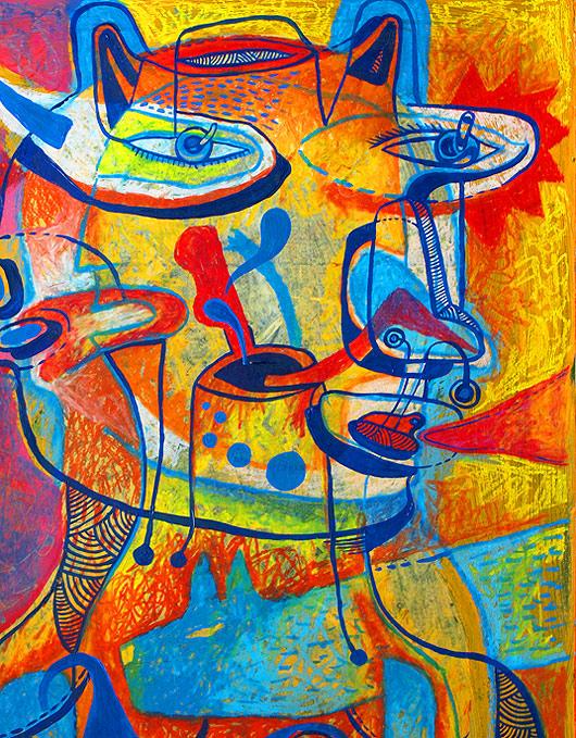 eric meyer, peinture, feutre, couleurs, figuration