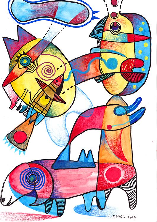 eric meyer, dessin, dessin contemporain, photographie, troupeau, mouton, figuration, aquarelle, feutres poscas, crayons de couleurs