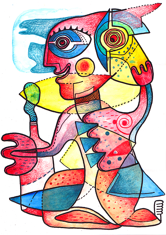 eric meyer, dessin, dessin contemporain, figuration, libre, aquarelle, poscas, crayons de couleurs, garrigue