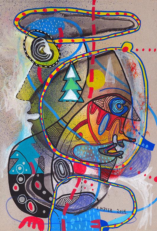 eric meyer, dessin contemporain, figuration libre, art, peinture, dessin, feutre, couleurs, frontière