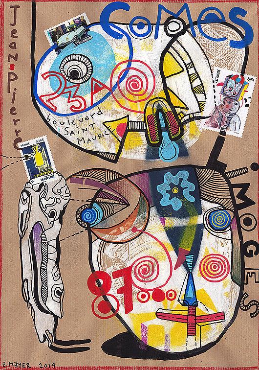 eric meyer, art postal, mailart, figuration, art brut, libre, timbre, poste, poscas