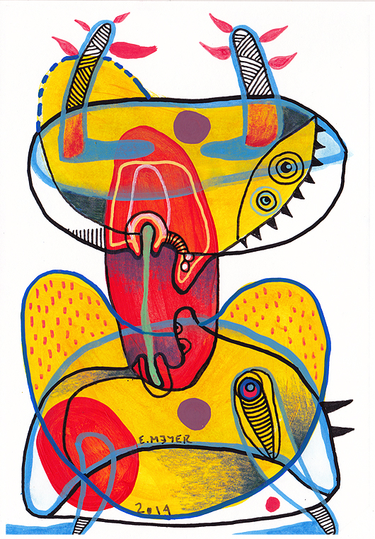 eric meyer, thierry lambert, livre d'artiste, dessin contemporain, figuration libre, dessin, feutres poscas